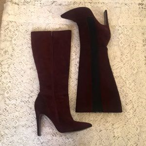ANDREA Burgundy Suede Tall Boots